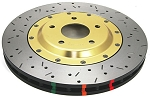 C5 C6 Corvette Base/Z06 1997-2012 DBA Front 5000 Series Drilled & Slotted Assembled Rotor w/ Gold Hat