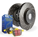 C6 Corvette Base/Z06/Grand Sport 2009-2013 Stage 5 EBC Slotted/Drilled Rotors w/ Yellow Brake Pad Kit - Side Option