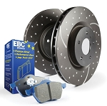 C6 Corvette Z06 2006-2008 Stage 6 EBC Front Slotted/Drilled Rotors w/ Blue Brake Pad Kit