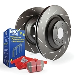 C6 Corvette Z06 2006-2008 Stage 4 EBC Front Slotted Rotors w/ Red Brake Pad Kit