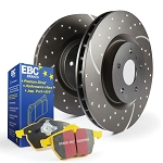 C6 Corvette Base/Z06/Grand Sport 2009-2013 Stage 5 EBC Rear Slotted/Drilled Rotors w/ Yellow Brake Pad Kit