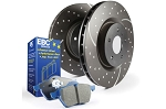 C4 Corvette 1984-1987 Stage 6 EBC Front Slotted/Drilled Rotors w/ Blue Brake Pad Kit