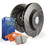 C4 Corvette 1988-1996 Stage 8 EBC Front HD Suspension Slotted/Drilled Rotors w/ Orange Brake Pad Kit