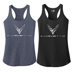C8 Next Gen Corvette 2020+ Ladies Foil Racerback Tanktop w/ Cross Flags Logo & Script