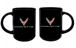 C8 Next Gen Corvette 2020+ Black Ceramic Mug w/ Cross Flags Logo & Script - 15oz
