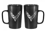C8 Next Gen Corvette 2020+ Black Ceramic Mug w/ Cross Flags Logo -16oz