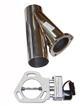 Pypes Performance 2.5 inch Diameter Stainless Steel Electric Exhaust Cutout w/ Wiring Harness & Y-Pipe Dump