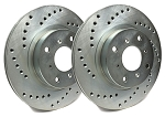 C4 Corvette 1988-1995 SP Performance Cross Drilled Brake Rotors with Silver Zinc Plating