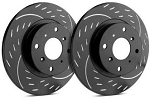 C4 Corvette 1988-1995 SP Performance Diamond Slotted Brake Rotors with Black Zinc Plating