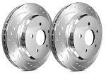 C4 Corvette 1988-1995 SP Performance Diamond Slotted Brake Rotors with Silver Zinc Plating