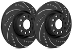 C4 Corvette 1988-1995 SP Performance Drilled and Slotted Brake Rotors with Black Zinc Plating