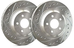 C4 Corvette 1988-1995 SP Performance Drilled and Slotted Brake Rotors with Silver Zinc Plating