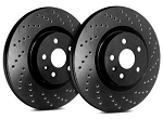 C6 Corvette Base 2005-2013 SP Performance Cross Drilled Brake Rotors with Black Zinc Plating - Multiple Options