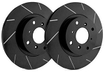 C6 Corvette Base 2005-2013 SP Performance Slotted Brake Rotors with Black Zinc Plating - Multiple Options