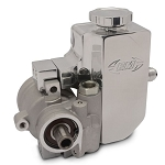 Eddie Motorsports GM Type II / TC Style Aluminum Replacement Raw Finish Power Steering Pump w/ Billet Aluminum Attached Reservoir