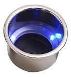 Stainless Steel Drink Holder w/ Blue LED - Finish Options