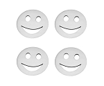 Stainless Steel Smile Emoji Emblems - 4pc Set - Finish Options