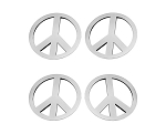 Stainless Steel Peace Sign Emblems - 4pc Set - Finish Options