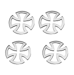 Stainless Steel Iron Cross Emblems - 4pc Set - Finish Options