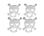 Stainless Steel Pirate Skull Emblems - 4pc Set - Finish Options