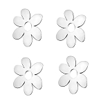 Stainless Steel Daisy Flower Emblems - 4pc Set - Finish Options