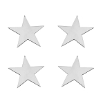 Stainless Steel Small Star Emblems - 4pc Set - Finish Options