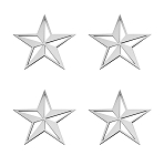 Stainless Steel Nautical Star Emblems - 4pc Set - Finish Options