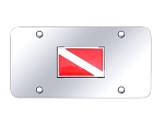 Dive Flag on Chrome License Plate