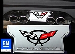 C5 Corvette 1997-2004 Exhaust Plate with Logo - Billet Chrome