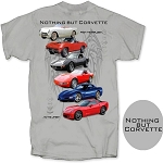 C3 C4 C5 C6 Corvette 1953-2013 Nothing But Corvette Generations T Shirt - Gray