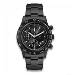 C8 Next Gen Corvette 2020+ Brushed Silver Chronograph Watch w/ Black Metal Strap