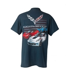 C7 Corvette Grand Sport 2014-2019 Red White & Blue American Flag and Cars T-Shirt