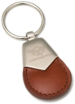 C5 Corvette 1997-2004 Brown Leather Key Chain w/ Stainless Collar & C5 Corvette Logo
