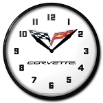 2005-2013 C6 Corvette Crossed Flags Logo Clock - 14in