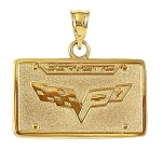 C3 C4 C5 C6 Corvette 1968-2013 Crossed Flag Logo License Plate Pendants - 14K Gold & Sterling Silver