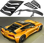 C7 Corvette Stingray/Z51/Z06/ZR1 2014-2019 Rear and Side Window Louvers with Spoiler