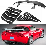 C6 Corvette Coupe 2005-2013 Rear and Side Window Louvers with Spoiler
