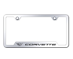 C3 Corvette 1968-1982 License Plate Frame w/ Laser Etched Logo - Mirrored Chrome