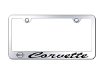 C4 Corvette 1984-1996 License Plate Frame w/ Laser Etched Logo & Cursive Script - Mirrored Chrome