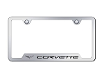 C6 Corvette 2005-2013 Notched License Plate Frame w/ Laser Etched Logo - Finish Options