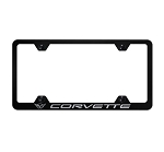 C5 Corvette 1997-2004 Wide Body License Plate Frame w/ Laser Etched Logo - Finish Options