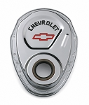 C3 C4 Corvette 1969-1986 Proform Small Block Chrome Street Timing Chain Cover - Black Chevrolet and Red Bowtie Embossed