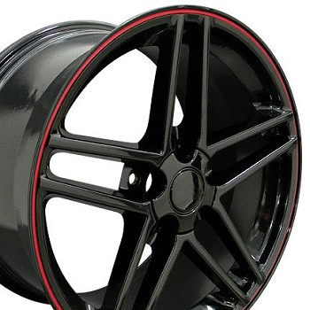 Corvette C6 05-13 Z06 Style Gloss Black Wheel Set 18x9.5/19x10 Red Stripes