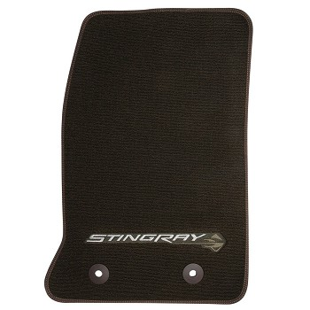 C7 Corvette Stingray 2014+ GM Front Floor Mats With Logos - Brownstone