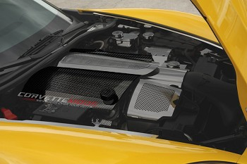 C6+GS Corvette 2008-2013 Perforated Hydro Carbon Fiber Fuel Rail Covers Replacement Style W/Cap