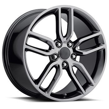 C6 C7 Corvette 2005-2019 C7 Stingray Black Chrome OEM Style Z51 Wheels - 18x8.5 / 19x10