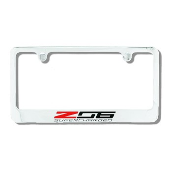 c7 corvette 2015 license plate frame z06 supercharged script chrome