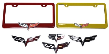 C6 Corvette 2005-2013 Custom Painted License Plate Frames With Crossed Flag Emblem Options