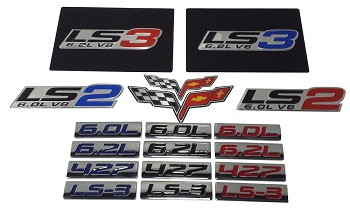 C6 Corvette 2005-2013 Airbag Warning Overlays  with Emblems - Pair