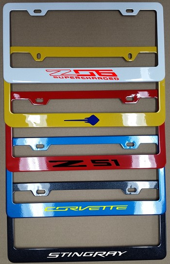 C7 Corvette 2014-2019 Color Matched Painted License Plate Frames - w/ Vinyl Decal